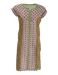 Lucknow Chikan Industry Women's Cotton Regular Fit Kurti (Lci-316, Green & Pink, S)
