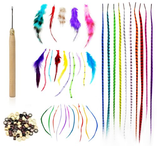 Shany Cosmetics Feather Hair Extension Kit, 8 Ounce (100 Piece Feather Hair, Hook, Beads, Feather Grizzly Solid Mix All-In-One)