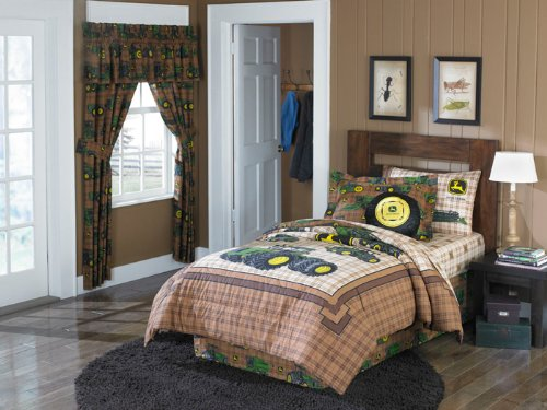 6pc John Deere Traditional Brown Twin Comforter Sheet Set