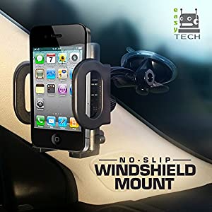 2-in-1 Mobile Phone Car Mount, Holder, Cradle [UPGRADED COMPONENTS], Secure Cell Phone/GPS to Vehicle's Windshield or Air Vent, Padded, Adjustable Grips, Fits Iphone 6 6+ 5 Galaxy S6 S5 Smartphones