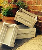 Set of 3 Wooden Storage Crates Vintage Rustic Shabby Chic