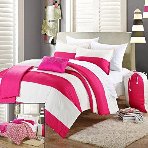 Coral 7-Piece Complete Dorm Room Comforter Set Twin Xl Size Extra-Long, Back To School, Sham Blanket Sheet Set