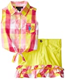 U.S. POLO ASSN. Girls 2-6X Plaid Sleeveless Shirt and Skirt with Ruffles