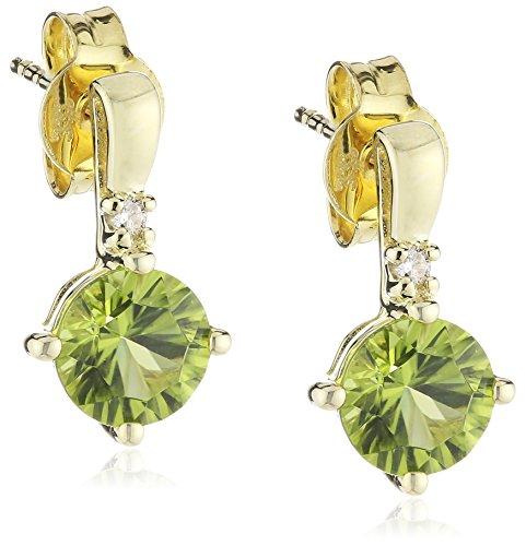 goldmaid Damen-Ohrhänger 333 Gelbgold 2 Brillanten 0,03ct farblos 2 Peridots grün 13.5 mm Fa O973GG