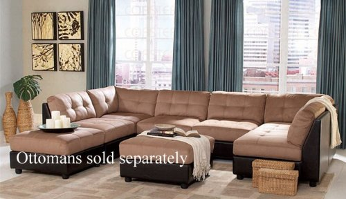 Awe Inspiring Sectional Sofa With Button Tufted Design Brown Microfiber Machost Co Dining Chair Design Ideas Machostcouk