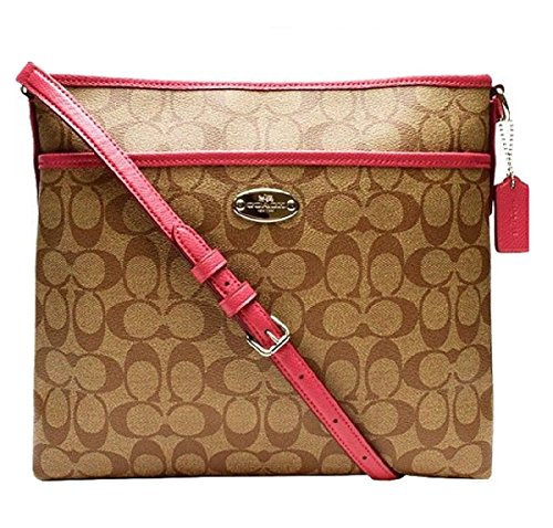 Coach Signature Coated Canvas File Bag in Khaki & Sunset Red