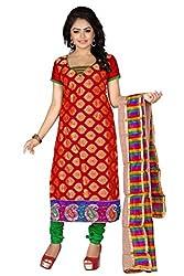 JHEENU Red Women's Banarsi Jequard unstitched Straight Salwar Suit dress mate...