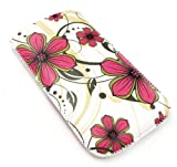 Emartbuy® Pink Hawaiian Flowers Premium PU Leather Pouch / Case / Sleeve / Holder ( Size Small ) With Pull Tab Mechanism Suitable For Sony Ericsson T303