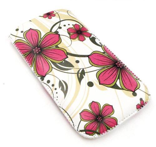 Emartbuy ® Nokia Lumia 610 rosa Hawaii-Blumen Premium-PU-Leder-Tasche / Case / Sleeve / Holder (Größe X-Large) mit Zug-Vorsprung Mechanismus und LCD Screen Protector