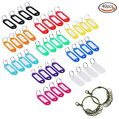 LoveS 40pcs Multi-color Plastic Key Fob ID Tags Luggage ID Labels with Split Ring Keyring (Random Color) and 2pcs Retro Keychain