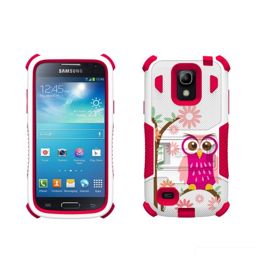 Beyond Cell Tri-Shield Durable Hybrid Hard Shell and Silicone Gel Case for Samsung Galaxy S4 Mini - Retail Packaging - White/Pink/Daisy Owl