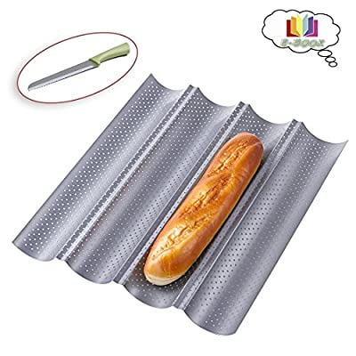 French Bread Pan 4-Loaf Nonstick Perforated Baguette French Loaf Pan+Bread Knife+Chinese Food E-Book,15 x 12 inch, Silver
