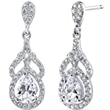 Revoni Sterling Silver Halo Style Pear Cut Simulated Diamond Earrings