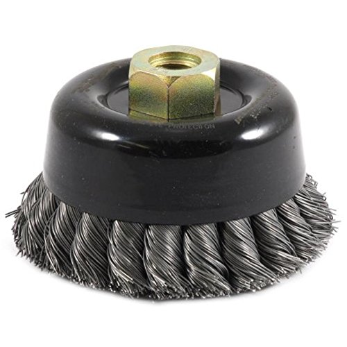 """Forney 72868 Wire Cup Brush, Twisted/Knotted Wire, Double Row, Industrial Pro 4"""" x .020"""" Wire with 5/8""""-11 Arbor"""