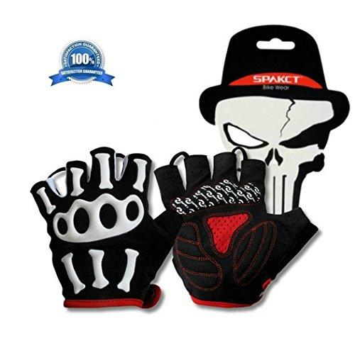 Mcolics Slip-resistant Bone Skeleton Racing Cycling Half Finger Gloves Outdoor Sports Skull Glove (XL)