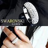 【SWAROVSKI ELEMENTS】スタイリッシュ パヴェ リング スワロフスキーエレメンツ #1028 指輪