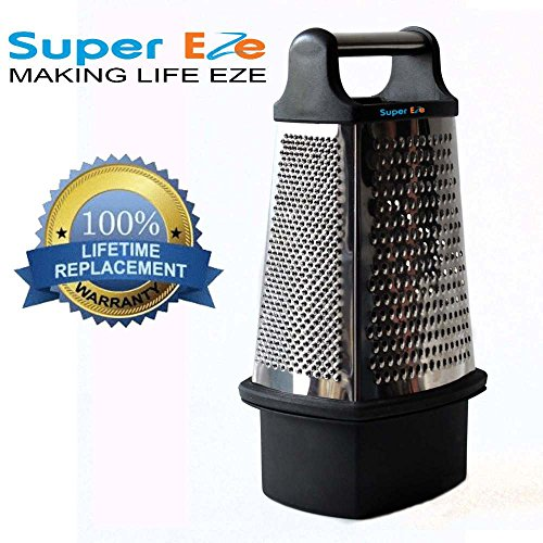 Cheese Grater with FREE food catcher by SuperEze. Best 4 Sided Box Stainless Steel Vegetable Shredder Cutter Zester and Slicer.
