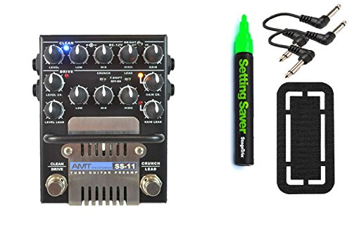 AMT Electronics SS-11B (Modern) Guitar Preamp Pedal Bundle w/ 4 free Items: StageTrix Setting Saver Pen, StageTrix Pedal Fastener, 2x Hosa Patch Cables