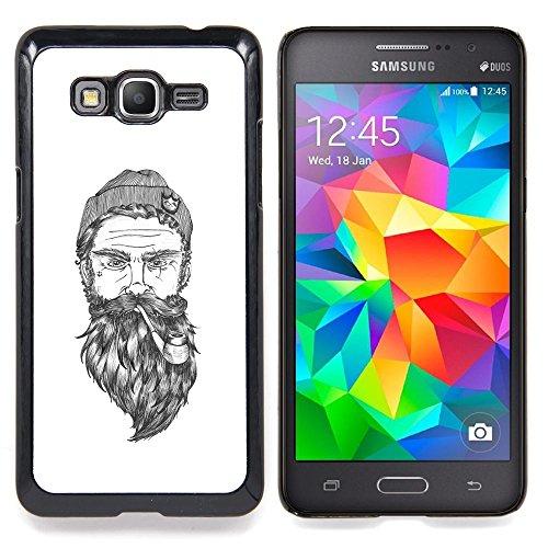 Beard-Man, Captain bianco per tubo, in metallo di alluminio & Seaman-Custodia rigida in plastica, colore: nero, per Samsung Galaxy Grand Prime G530F G530FZ G530Y G530H G530FZ/DS