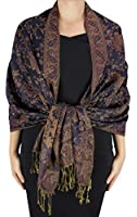 Peach Couture Hues of Blue Double Layer Reversible Paisley Pashmina Shawl Wrap Scarf