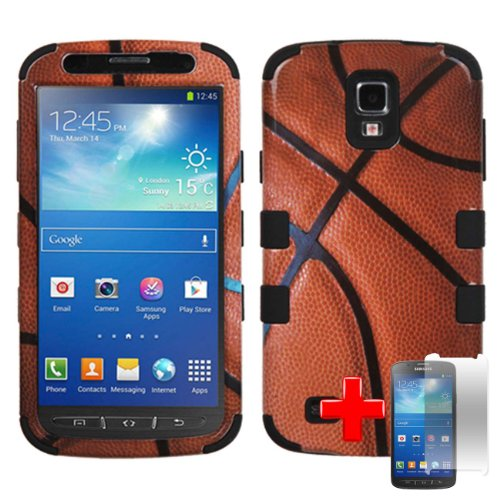 Samsung Galaxy S4 Active I537 I9295 (At&T) 2 Piece Silicon Soft Skin Hard Plastic Image Case Cover, Basketball Design Cover + Lcd Clear Screen Saver Protector