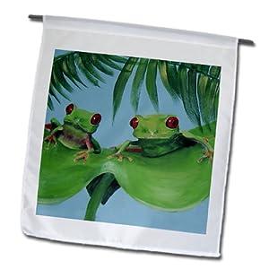 fl_44372_1 Amy Hurley Heath Animals - Miscellaneous - 2 Tree Frogs on a Big Palm Leaf - Flags - 12 x 18 inch Garden Flag