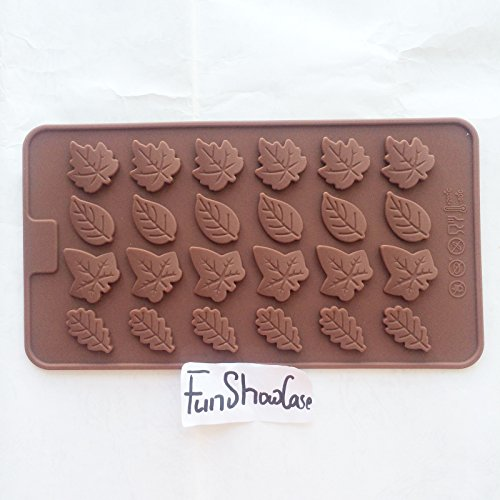 Food Grade Assorted Leaf Shape Leaves, FLAT thin shape CHOCOLATE candy icing mold, 21.5* 10.5* 0.3CM, non stick Sugar paste, Chocolate, Fondant, Butter, Resin, Cabochon, Polymer Clay, fimo, gum paste, PMC, Wax, Candle, Soap mold