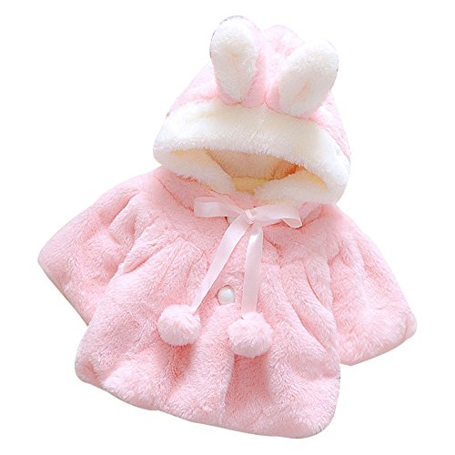 Baby Girls Coat Buedvo Fur Winter Warm Cloak Thick Jacket Warm Hoodies (0-6Months, Pink)