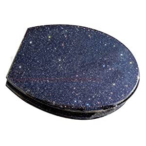glitter black fun toilet seat with metal round hinges. Black Bedroom Furniture Sets. Home Design Ideas