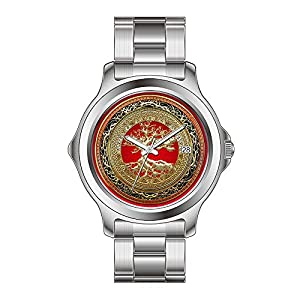 FYD Watch Man's Fashion Stainless Steel Band Watch [400] Treasure Trove: Celtic Tree Of Life [Gold] Watches