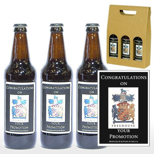 PERSONALISED 'Congratulations On Your Promotion' Ale Gift Box - 3 x 500ml Yorkshire Ales with 'Congratulations On Your Promotion' on the Labels in a Gift Box