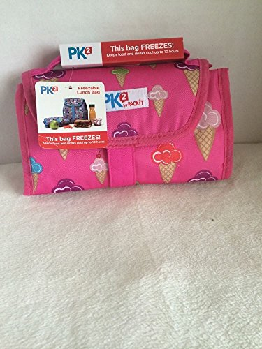 Packit PK2 Packable/Freezable Lunch Bag Keeps Food Drinks Cool 10 Hrs NWT Hot Pink with Ice Cream Cones - 1
