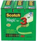 Scotch Magic Tape, 3/4 x 1296 Inches, Boxed, 3 Rolls (810-3PK)