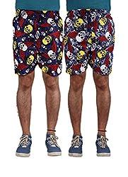 American-Elm Men's Multi Color Printed Shorts-Combo Of 2 (Medium)