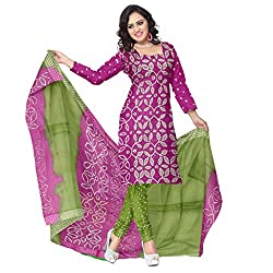 Pink and Green Bandhani Dress Material with Work