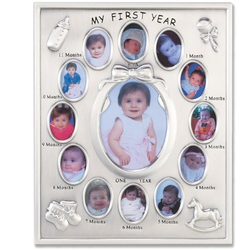 Lawrence Frames Silver Plated My First Year Picture Frame (Silver Baby Frame compare prices)