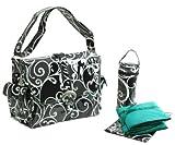 Surf Laminated Diaper Bag (Black/White) (11″H x 6″W x 14″D) by Kalencom