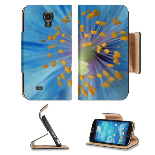 Poppy Pollen Blue Flower Petals Center Nectar Sweet Shot Samsung Galaxy S4 Flip Cover Case With Card Holder Customized Made To Order Support Ready Premium Deluxe Pu Leather 5 Inch (140Mm) X 3 1/4 Inch (80Mm) X 9/16 Inch (14Mm) Liil S Iv S 4 Professional C