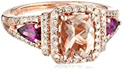 10k Rose Gold Morganite, Rhodolite, and Diamond Ring (1/3cttw, H-I Color, I2-I3 Clarity), Size 7