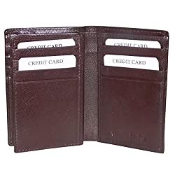Brown Unisex Leather Card Holder Wallets with 12 Credit Card Slots