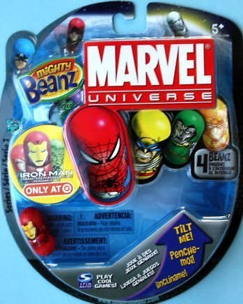 Mighty Beanz Marvel Universe Target Iron Man Specially Marked Package, 4 Beanz - 1
