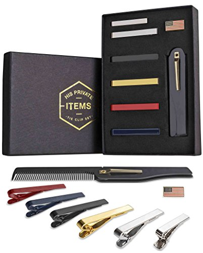 Tie-Bar-Clip-Set-for-Men-6-Pc-Pinch-Hold-Skinny-Regular-Ties-Gift-Box