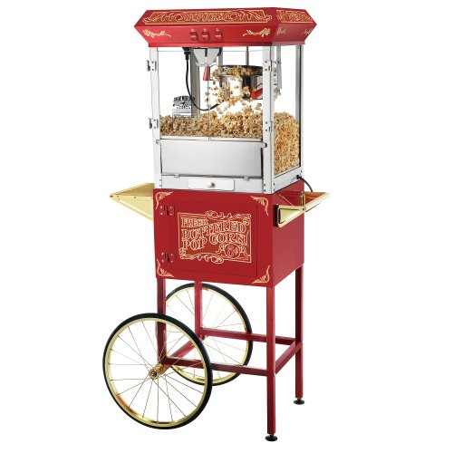 Great Northern Popcorn Old Time Popcorn Popper Machine with Cart, 8-Ounce, Red (Old Time Popcorn Popper compare prices)