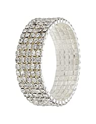 Designer Adjustable Studded With CZ Stone Bangle Bracelet By Lazreena