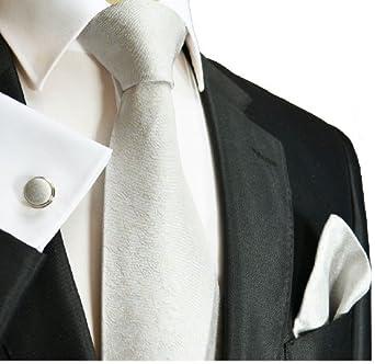 Extra Long Paul Malone Necktie Set 100% Silk. Tie, Handkerchief and Cufflinks, Silver