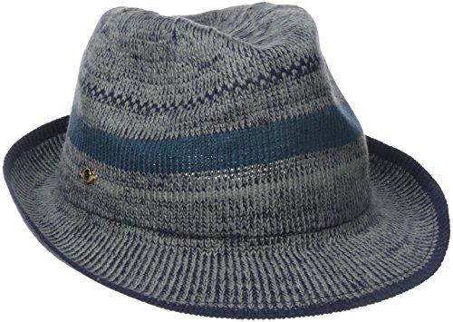 Theodora & Callum Women's Stripe Packable Fedora Hat, Grey, One Size