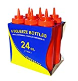 New Star Foodservice 26405 Wide Mouth Plastic Squeeze Bottles, 24-Ounce, Red, Set of 6