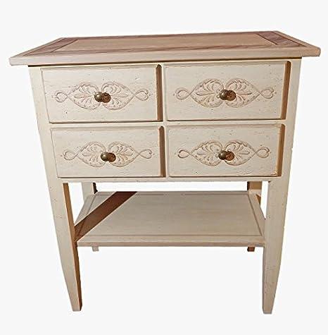 Mueble madera made in Italy BART sapientemente decorada a mano Mesa auxiliar para televisores o scrittoio. Mueble de salón, para habitación letto. Mueble de 4 cajones y un ripiano. L68xP39xH80