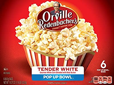 Orville Redenbacher's Gourmet White Popcorn Pop Up Bowl, 3.06oz bags, 6 Count (Pack of 6)