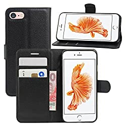 iPhone 7 Case, Fettion Leather Wallet Phone Protective Case Flip Cover with Stand Card Holder for iPhone 7 4.7 Inch 2016 Smartphone (Wallet - Black)